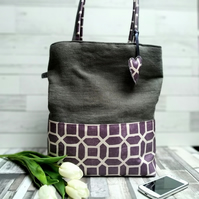 Grey Woven Fabric and Mulberry Geometric Oilcloth Shoulder Tote