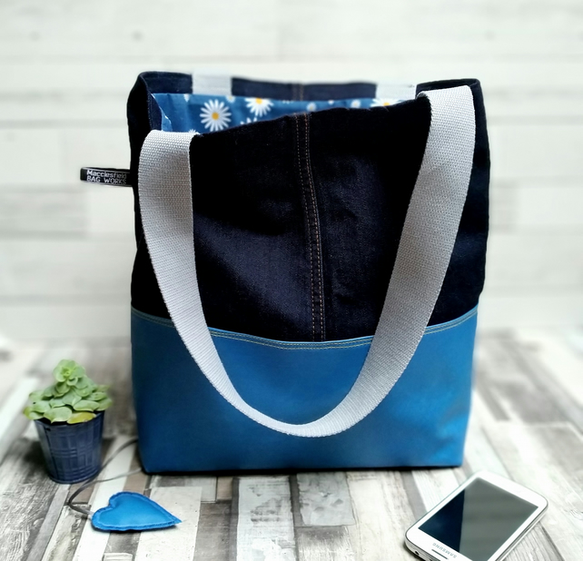 Repurposed Blue Denim and Oilcloth Shoulder Tote