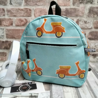 Handmade Oilcloth Scooter small back-pack