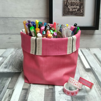 Raspberry Matt Oilcloth Contemporary Storage Basket