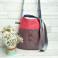 Pink Woven Textile and Oilcloth Shoulder bag