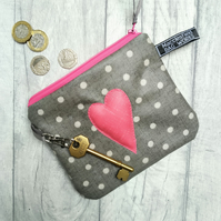 Polka Dot and Heart Motif Oilcloth Purse or Small Makeup bag