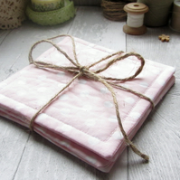Pale Pink Polka Dot Coasters - Set of Four
