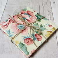 Vintage Floral Themed Coasters - Set of Four