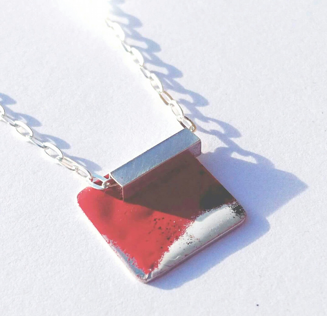 Unique sterling silver enamel necklace in red, black & white