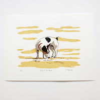 Dog on the Beach Hand Pulled Limited Edition Screen Print
