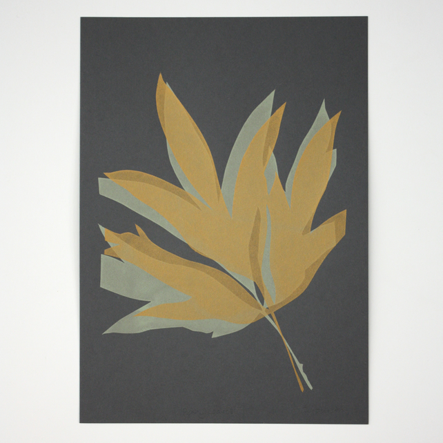 Peony Leaves Hand Pulled One Off Screen Print