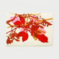 Autumn Leaves Red Limited Edition Screen Print by Fiona Hamilton