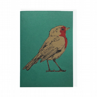 Robin on Green Hand Screen Printed Christmas Greeting Card by Fiona Hamilton