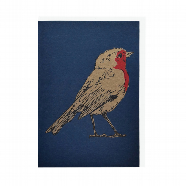 Robin on Navy Blue Hand Screen Printed Christmas Greeting Card by Fiona Hamilton