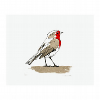 Robin Hand Pulled Screen Printed Mini Print