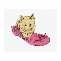 Kitten in Shoe Hand Pulled Limited Edition Cat Screen Print