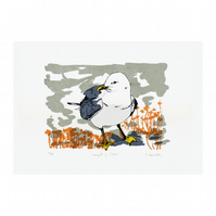 Seagull in Clover Hand Pulled Limited Edition Screen Print