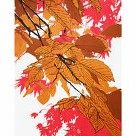Autumn Leaves Bronze Screenprint by Fiona Hamilton