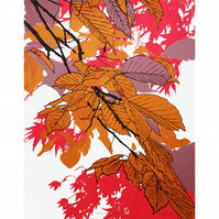Autumn Leaves Pink Screenprint by Fiona Hamilton