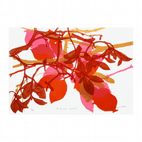 Autumn Leaves Orange Limited Edition Screen Print by Fiona Hamilton