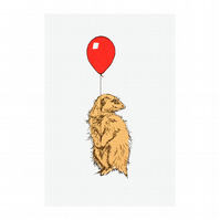 Meerkat with Balloon Red Limited Edition Screen Print by Fiona Hamilton