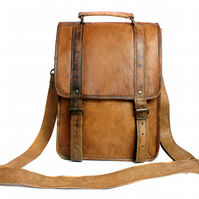 Brown leather satchel, messenger bag, backpack, rucksack, cross body bag,