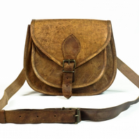 Leather saddle bag, cross body bag, handbag Handmade Fairtrade