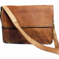 Brown leather laptop bag, leather satchel, messenger bag, cross body bag, unisex