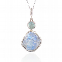 Aquamarine & Moonstone Natural Gemstone Handmade Ladies Sterling Silver Pendant