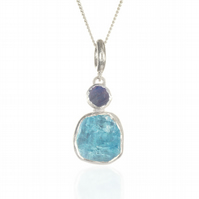 Aquamarine & Rainbow Moonstone Gemstone Handmade Ladies Sterling Silver Pendant
