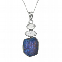 Tanzanite and Moonstone Natural Gemstone Handmade Ladies Sterling Silver Pendant