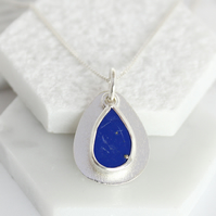 Coastal Lapis Lazuli Gemstone Handmade Pebble Sterling Silver Ladies Pendant