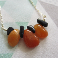 Red Aventurine and Blue Sandstone Rustic Bar Necklace Sterling Silver