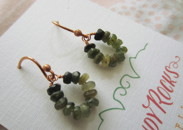 Green Tourmaline Gemstone Hoop Cooper Earrings, rustic, natural, dainty