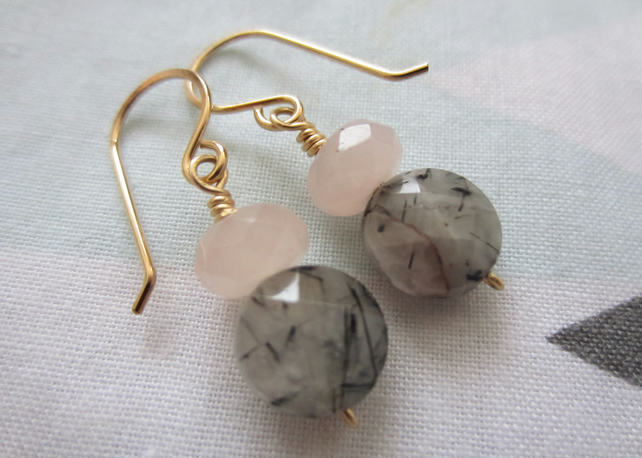 Tourmalated and Rose Quartz gemstone earrings- 14k Gold Filled, modern, pastel