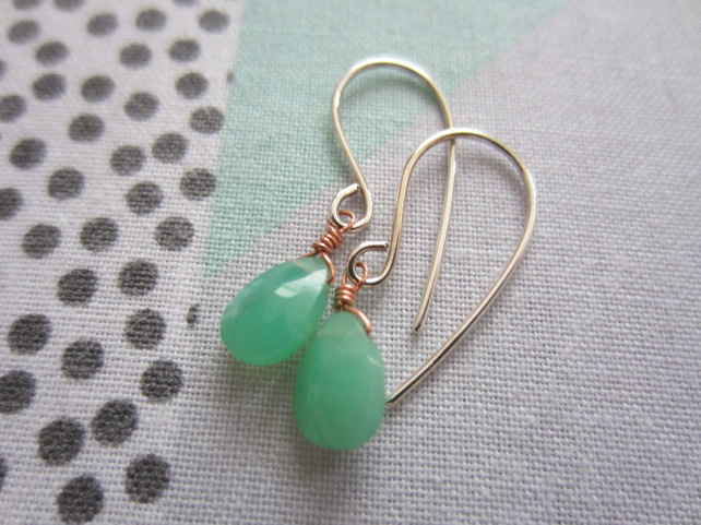 Silver Chrysoprase Gemstone Teardrop Earrings, Mixed Metal, Copper, Delicate