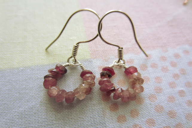 Pink Tourmaline Silver Gemstone Hoop Earrings, dainty, cute, wire wrapped