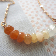 Peach Moonstone gemstone bar necklace-14k Rose Gold filled, chic, simple