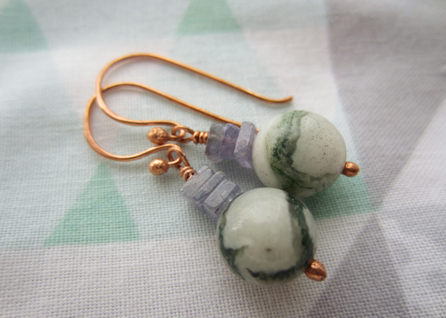 Tree agate and Tanzanite Copper Gemstone earrings, rustic, natural jewellery
