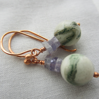 Tree agate and Tanzanite Copper Bead Earrings, rustic, natural jewellery