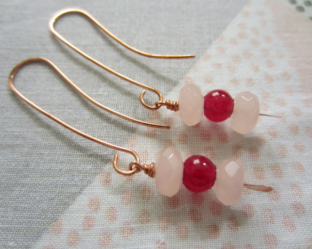 Rose Quartz and Pink Jade Copper Gemstone Earrings, quirkly, contemporary