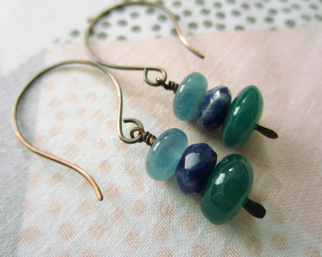 Sodalite, Green Onyx and Dumortierite Copper Gemstone Earrings