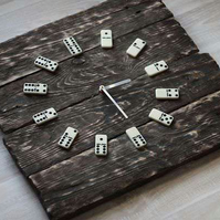 Pallet Wood Wall Clock Domino Art Industrial Vintage Rustic Retro Shabby Chic