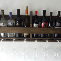 Handmade rustic reclaimed pallet wood wine rack 8 bottle and 6 glasses
