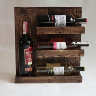 Handmade old style rustic reclaimed pallet wood wine rack