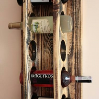 Rustic Handmade shabby chic old style reclaimed pallet wood wine rack 5 bottles