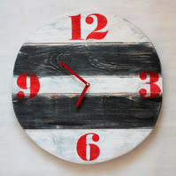 Pallet Wood Wall Clock Retro Red Old Style Art Industrial Vintag