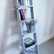 5 Tier Modern Contemporary Solid Wood Ladder Shelving Display Unit Bookcase