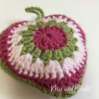 Crocheted hanging heart