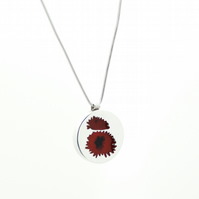 Chrysanthemum - Silver and Resin Red Flower Pendant