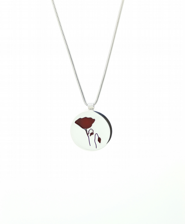 Poppy Pendant - Handcrafted, Hallmarked Silver and Resin Red Flower Necklace