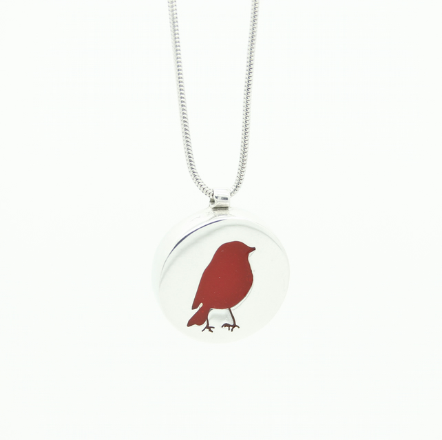 Red Robin Pendant - Handcrafted, Hallmarked Silver and Resin Red Flower Necklace
