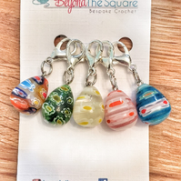 Multi coloured millefiori glass tear drop crochet, knitting stitch markers