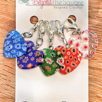 Multi coloured Millefiori glass heart locking crochet, knitting stitch markers,